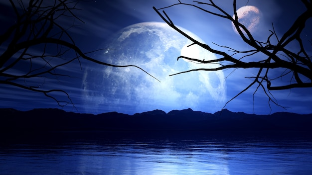 3d render van een spookachtige achtergrond met maan-, planeet- en boomsilhouet