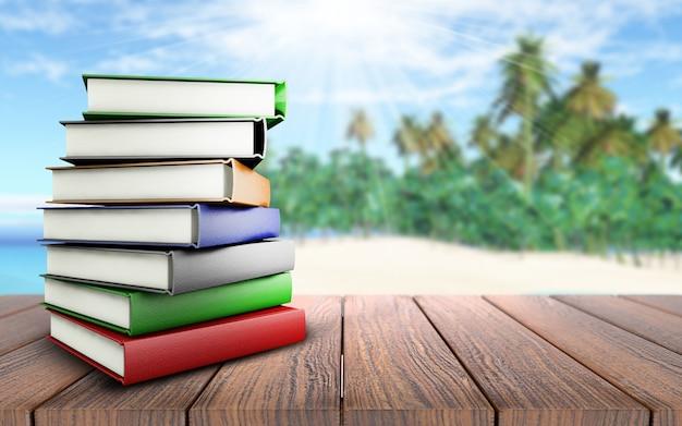 3d render van een stapel boeken op een houten tafel op zoek naar een palmboom strand