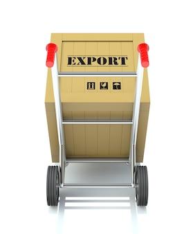 3d render van een steekwagen met exportkrat...