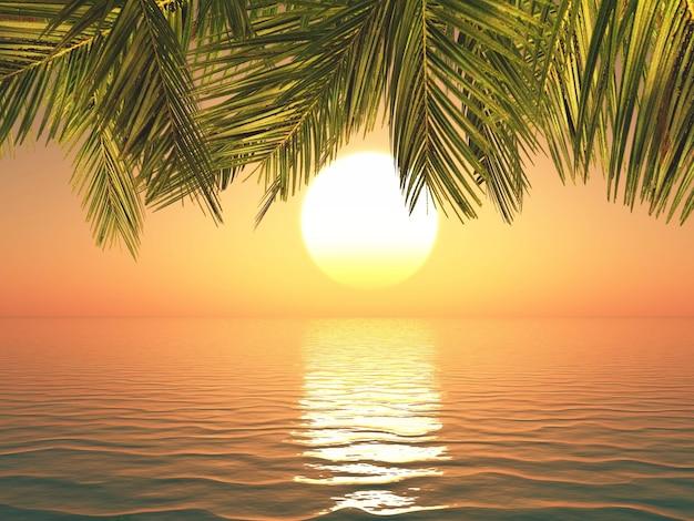 3d render van een tropisch landschap bij zonsondergang