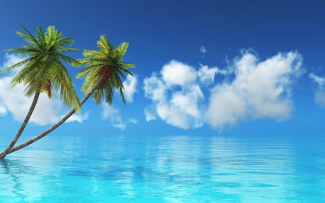 3d render van een tropisch landschap met palmbomen en blauwe zee