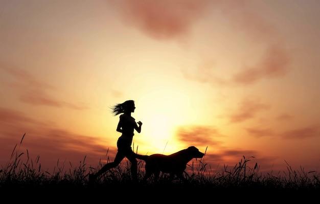 3d render van een vrouwelijke en hond joggen tegen een zonsondergang hemel