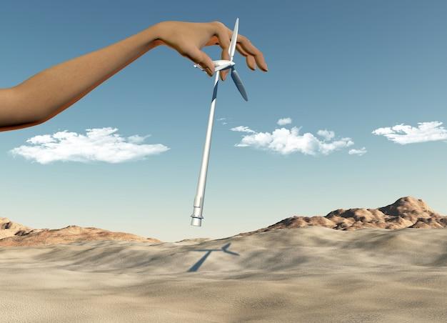 3d render van een vrouwelijke hand die windturbines in een woestijn plaatsen