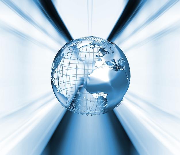 3d render van een wireframe globe op abstract