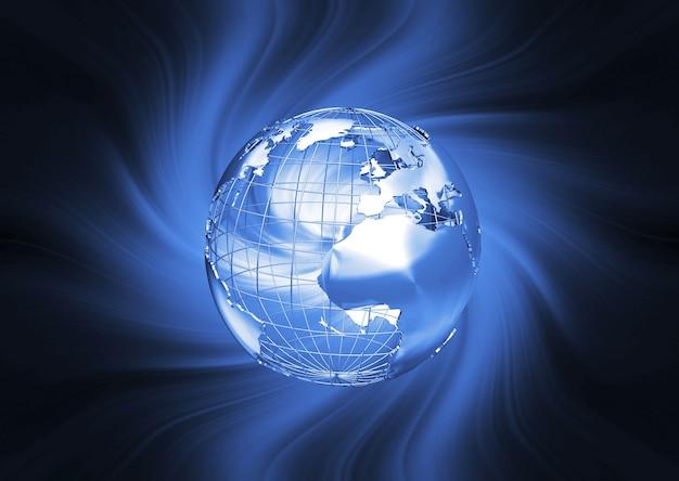 3d render van een wireframe globe