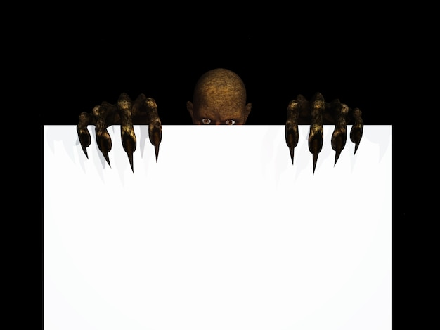 3d render van een zombie figuur bedrijf een leeg bord