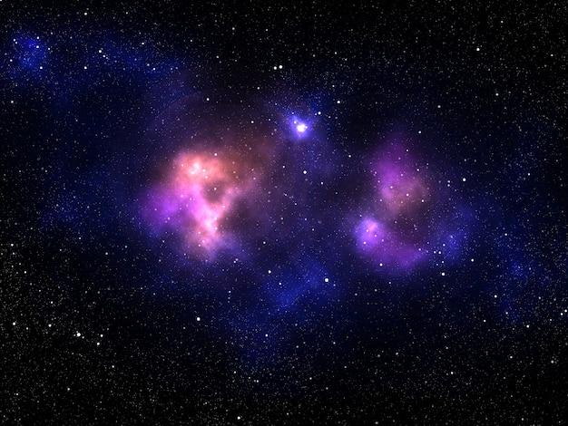 3d render van een zonnestelsel achtergrond met kleurrijke nevel