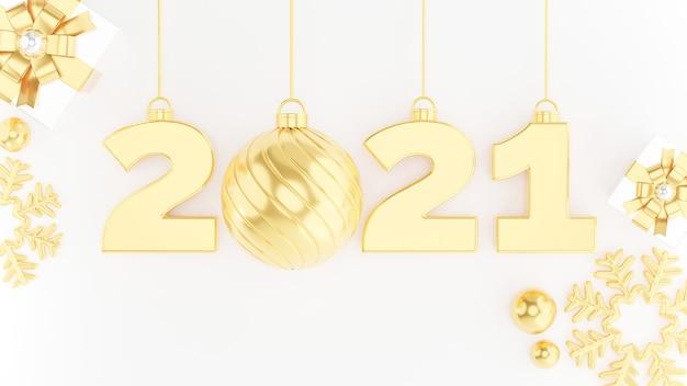 3d render van gelukkig nieuw jaar 2021 met goud