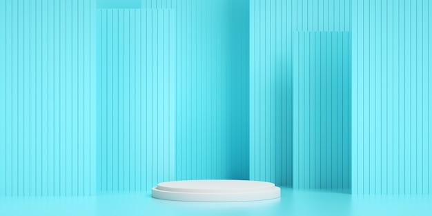 3d render van geometrische blauw gestreept