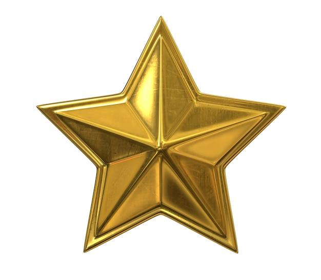 3d render van golden christmas star geïsoleerd op een witte achtergrond.