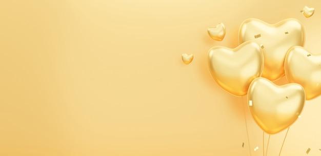 3d render van gouden ballonnen decoratie met confetti