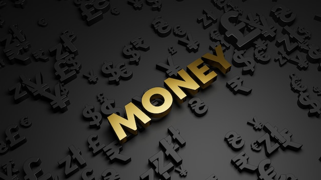 3d render van gouden geld tekst met valutasymbolen