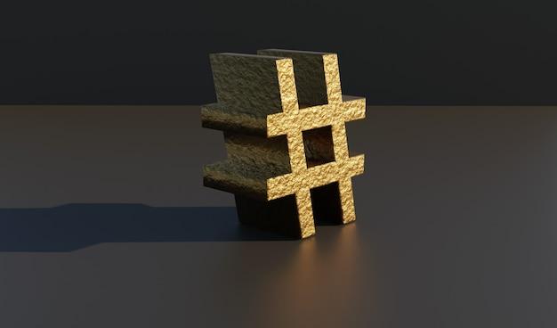 3d render van gouden hashtag op zwarte studio achtergrond.