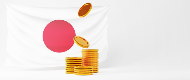 3d render van gouden munten en de vlag van japan. online winkelen en e-commerce op web bedrijfsconcept. veilige online betalingstransactie met smartphone.