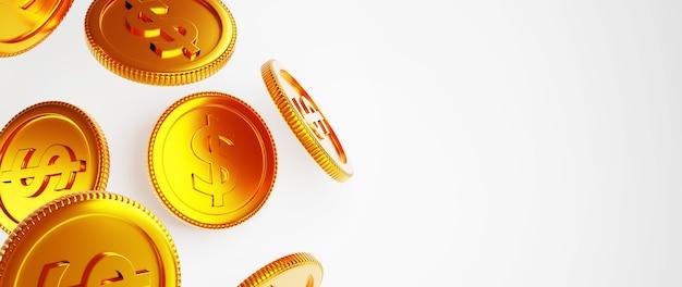 3d render van gouden munten. online winkelen en e-commerce op web bedrijfsconcept. veilige online betalingstransactie met smartphone.