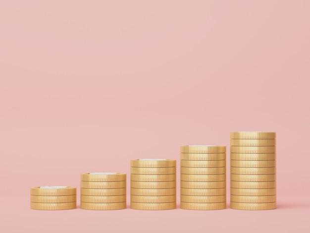 3d render van gouden munten stapel in geld besparen voor doel concept groei financieel model