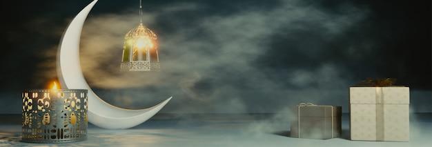 3d render van halve maan met verlichte lantaarns en geschenken
