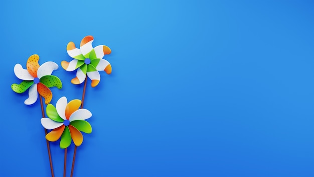 3d render van india tricolor pinwheel en kopieer ruimte op blauwe achtergrond.