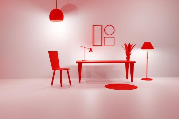 3d render van kamer modern interieur lege frames