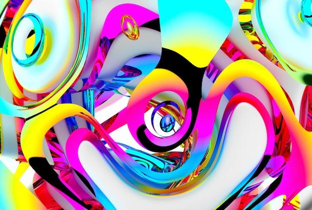 3d render van kleurrijke abstracte kunst
