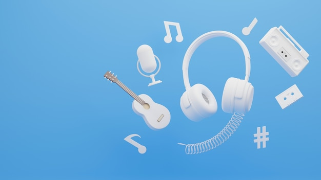 3d render van koptelefoon omgeven door muziek concept