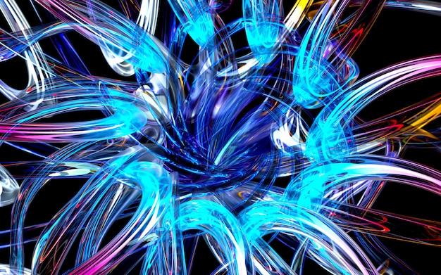 3d render van kunst 3d-achtergrond met een deel van abstracte bloem of turbine op basis van curve golvende ronde lijnen glazen buizen met gloeien in neon blauw en groen licht element binnen op zwart