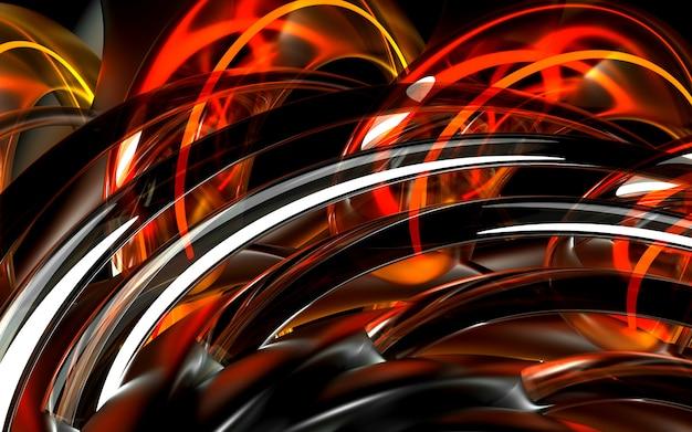 3d render van kunst 3d-achtergrond met een deel van abstracte bloem op basis van ronde curve golvende buizen elementen in glazen delen met neon oranje draden binnen