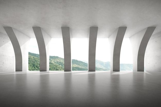 3d render van lege betonnen kamer met grote pijlerstructuur op bergachtergrond.