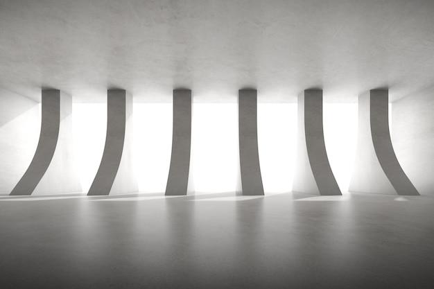 3d render van lege betonnen kamer met grote pijlerstructuur op witte achtergrond.