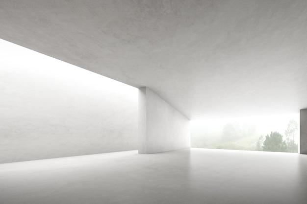 3d render van lege betonnen kamer met grote structuur op witte achtergrond.