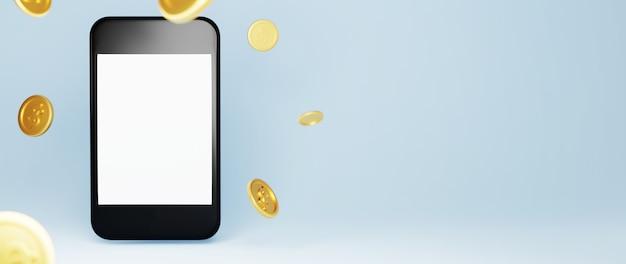 3d render van lege mobiele en gouden munten. online winkelen en e-commerce op web bedrijfsconcept.