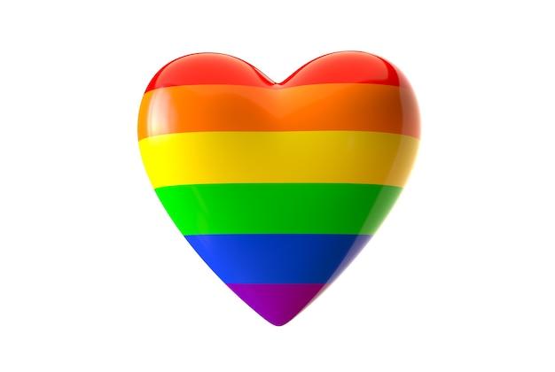 3d render van lgbt regenboog gekleurde hart vorm geïsoleerd op een witte achtergrond