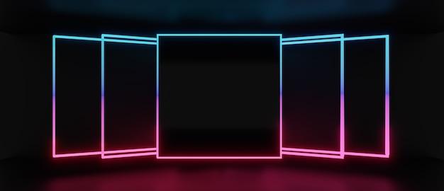 3d render van lichte vierkante frame-uitlijning geïsoleerd op een donkere achtergrond, abstract minimaal concept, lege ruimte, eenvoudig schoon ontwerp