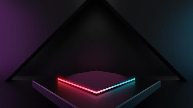 3d render van lichte voetstukstappen geïsoleerd op een donkere achtergrond, abstract minimaal concept, lege ruimte, eenvoudig schoon ontwerp