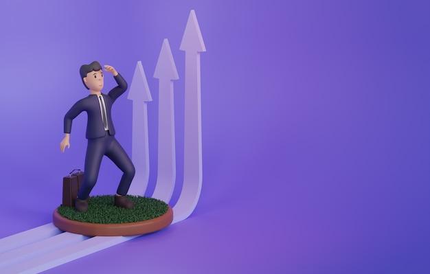 3d render van man naast opgroeiende pijlen op paarse achtergrond met kopieerruimte