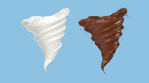 3d render van melk en chocolade spinnen in een storm vorm, uitknippad opgenomen. Premium Foto