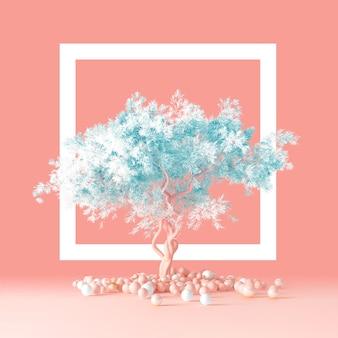 3d render van minimaal schoon ontwerpconcept van een naaldboom pluizige boom met een zachte blauwe kroon geïsoleerd op een lichtroze perzik achtergrond