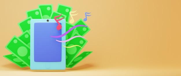 3d render van mobiel en bankbiljet. online winkelen en e-commerce op web bedrijfsconcept.