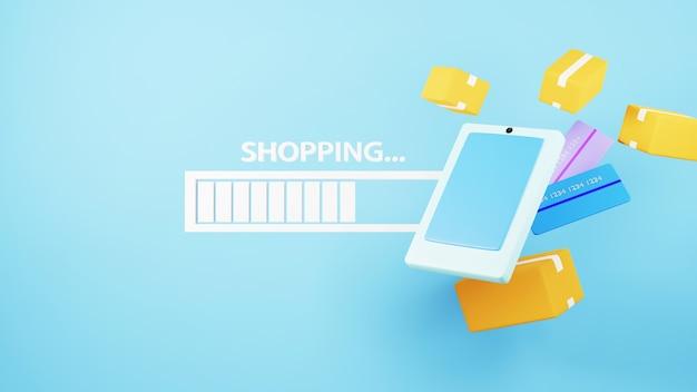 3d render van mobiel en laadpictogram. online winkelen en e-commerce op web bedrijfsconcept.