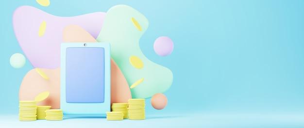 3d render van mobiele telefoon en gouden munten. online winkelen en e-commerce op web bedrijfsconcept.