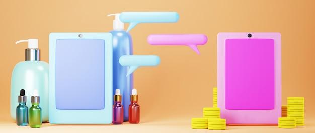 3d render van mobiele telefoons en producten. online winkelen en e-commerce op web bedrijfsconcept.
