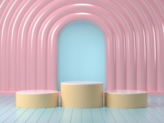 3d render van mock up podium abstracte pastel podium