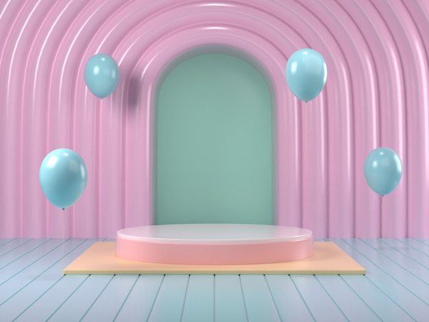 3d render van mock up podium abstracte pastel podium