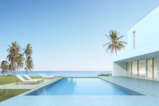 3d render van modern huis met zwembad op zee achtergrond.