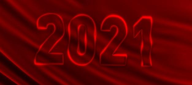 3d render van nieuwjaar 2021 sjabloon op een rode zijden achtergrond. gelukkig nieuwjaar
