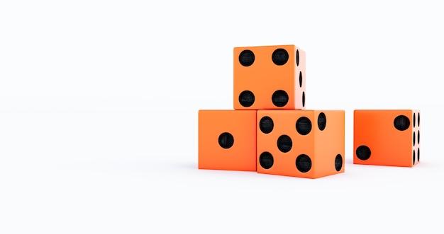 3d render van oranje casino dobbelstenen op een witte achtergrond.