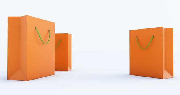 3d render van oranje papieren zak sjabloon met groen handvat touw, geïsoleerd op een witte achtergrond