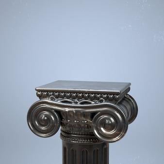 3d render van oude kolom met marmeren textuur. product showcase creatieve mockup.
