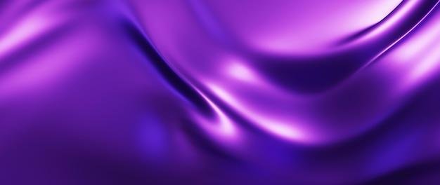 3d render van paarse doek. iriserende holografische folie. abstracte kunst mode achtergrond.