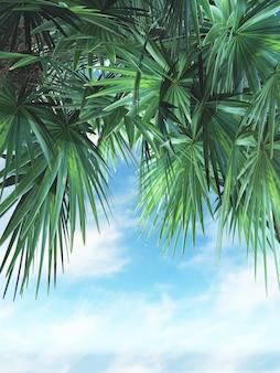 3d render van palmbladeren tegen een blauwe hemel